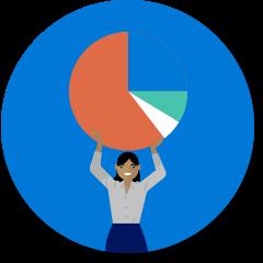 Werkpictogram met vrouw en taartdiagram