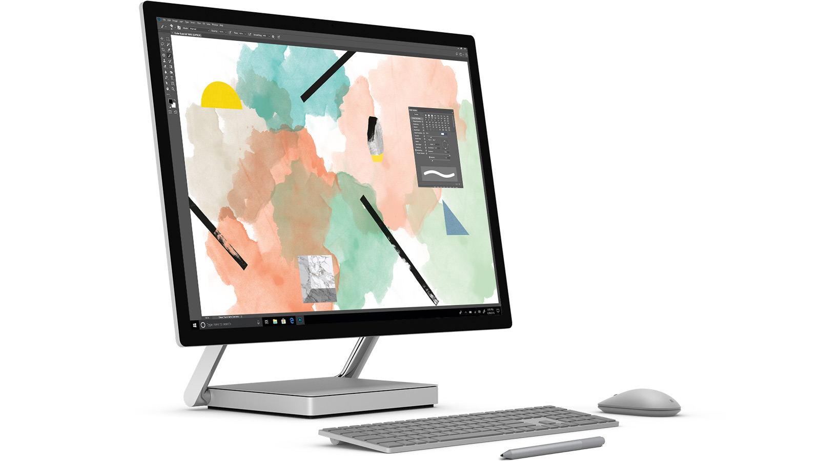 Surface Studio met toetsenbord, muis en Surface-pen.