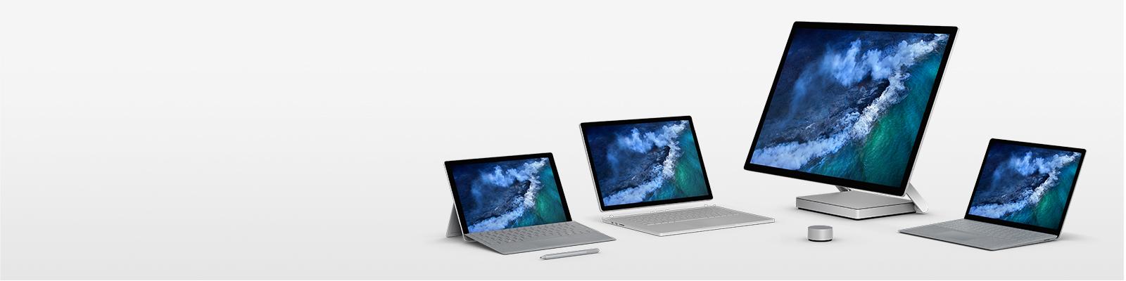 Surface Pro, Surface Laptop, Surface Book 2 en Surface Studio getoond met Surface-pen en Surface Dial