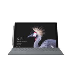 Vooraanzicht van kobaltblauwe Surface Pro met kraanvogel-startscherm.