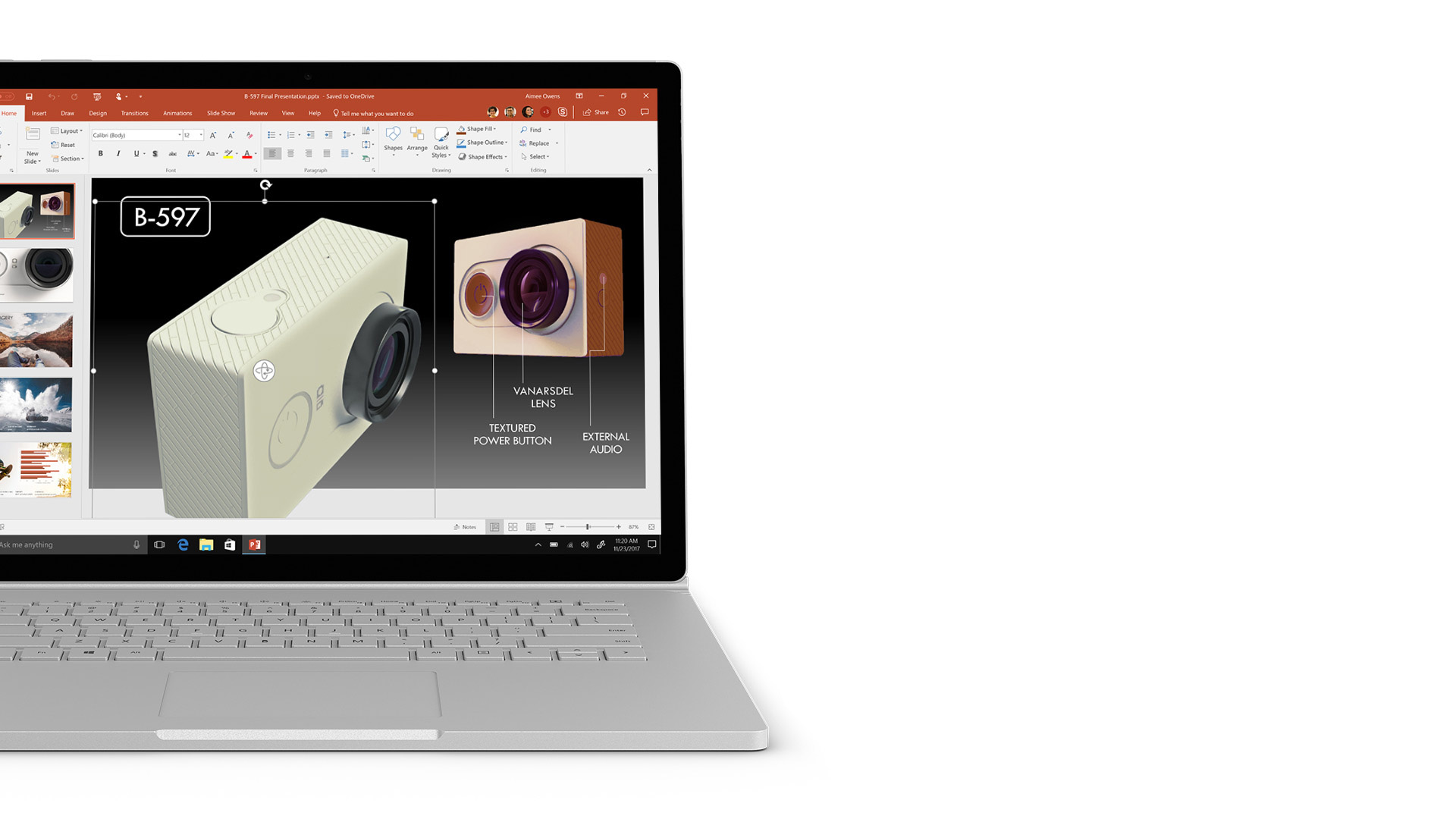 PowerPoint-schermopname op Surface.