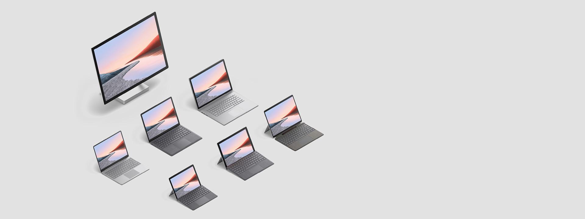 De volledige familie Surface-apparaten in platina en zwart.