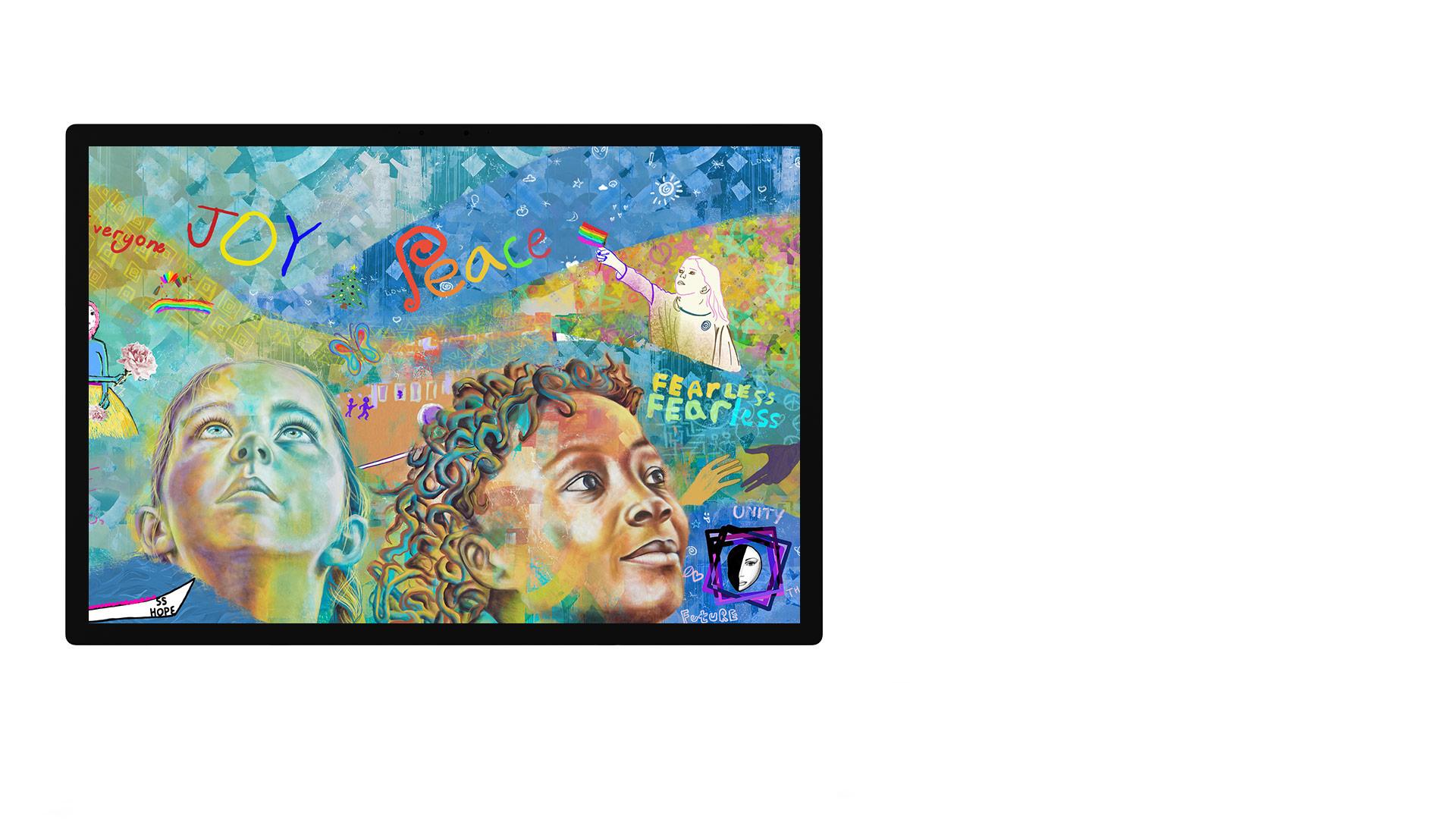 """Surface Studio-scherm met de foto-app UI""""PixelSense™ weergegeven"""