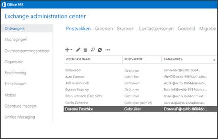 Close-up van een pagina in het Exchange-beheercentrum, waar u uw e-mailsysteem kunt beheren.