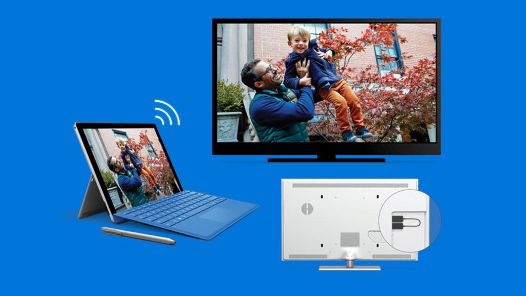Groepsafbeelding van Surface Pro laptop, Surface-pen, grote monitor voorzijde en achterkant van de monitor met Wireless Display Adapter eraan verbonden.