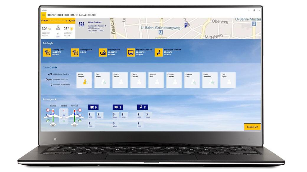 mCabin scherm op een apparaat