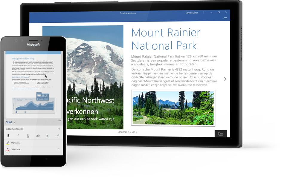 Windows-tablet met een Word-document over Mount Rainier National Park en een telefoon met een document in de Word Mobile-app