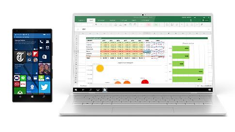 Windows 10-telefoon toont scherm op laptop