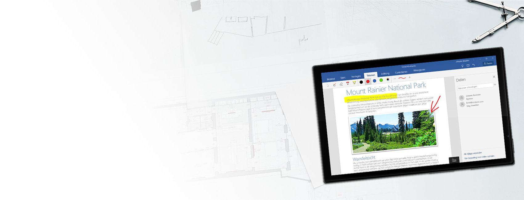 Windows-tablet met een Word-document over Mount Rainier National Park in Word voor Windows 10 Mobile
