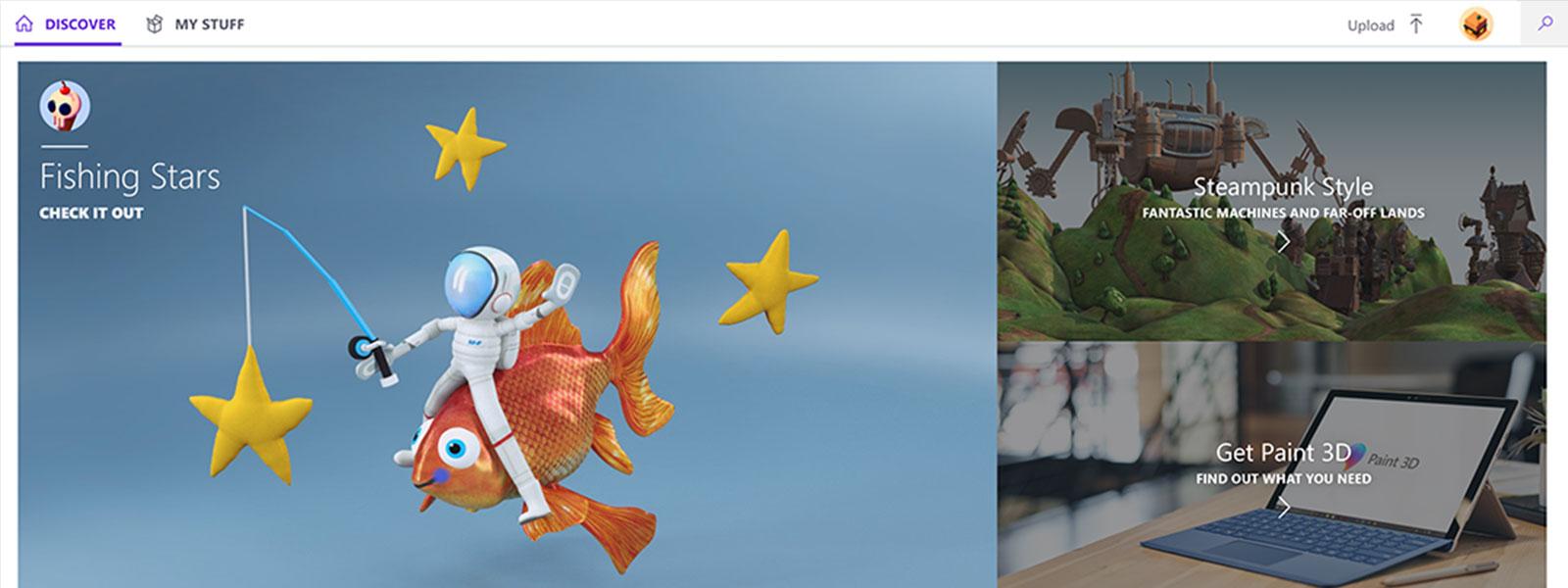 Windows Paint 3D-afbeelding van vis met sterren