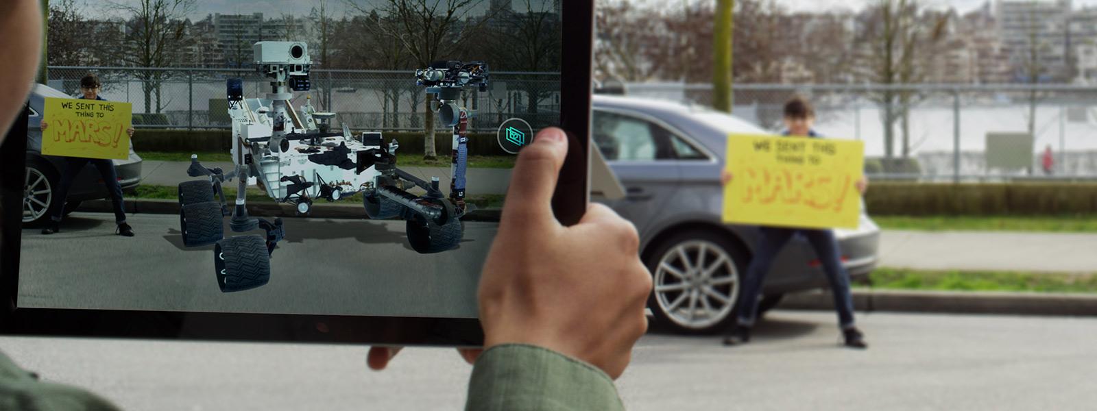 In View 3d wordt een auto toegevoegd aan een afbeelding