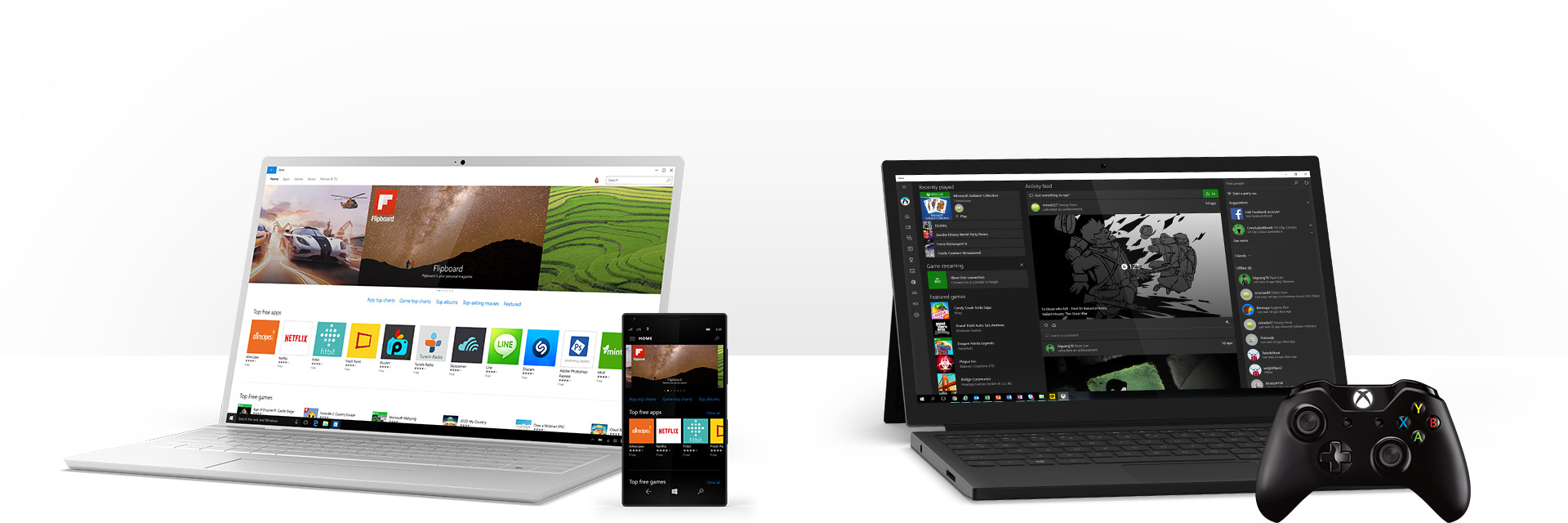 Een Windows 10-pc met afgebeeld apps in de Windows Store en een Windows 10-pc met de Xbox-app in Windows en een Xbox-controller