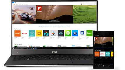 Een Windows 10-pc met afgebeeld apps in de Windows Store