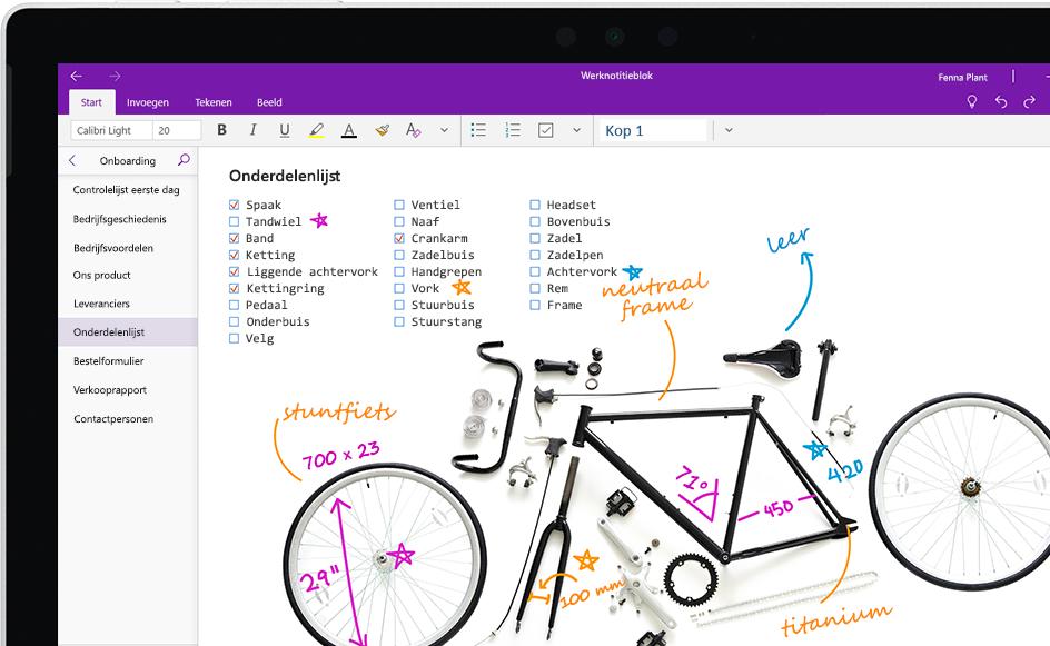 Een OneNote-pagina met een lijst met fietsonderdelen met daarbij handgeschreven aantekeningen.