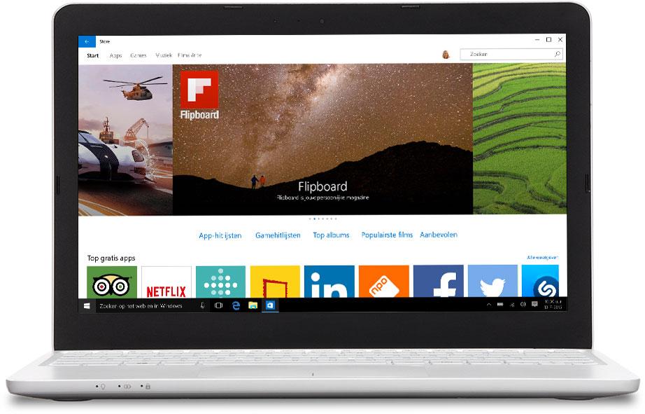 Laptop met daarop afgebeeld de Windows Store