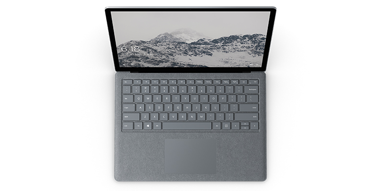 Bovenaanzicht van Surface Laptop in platina