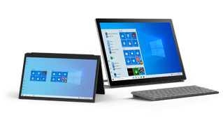 Urządzenie 2 w 1 z systemem Windows 10 obok komputera stacjonarnego z systemem Windows 10, oba z wyświetlonym ekranem startowym
