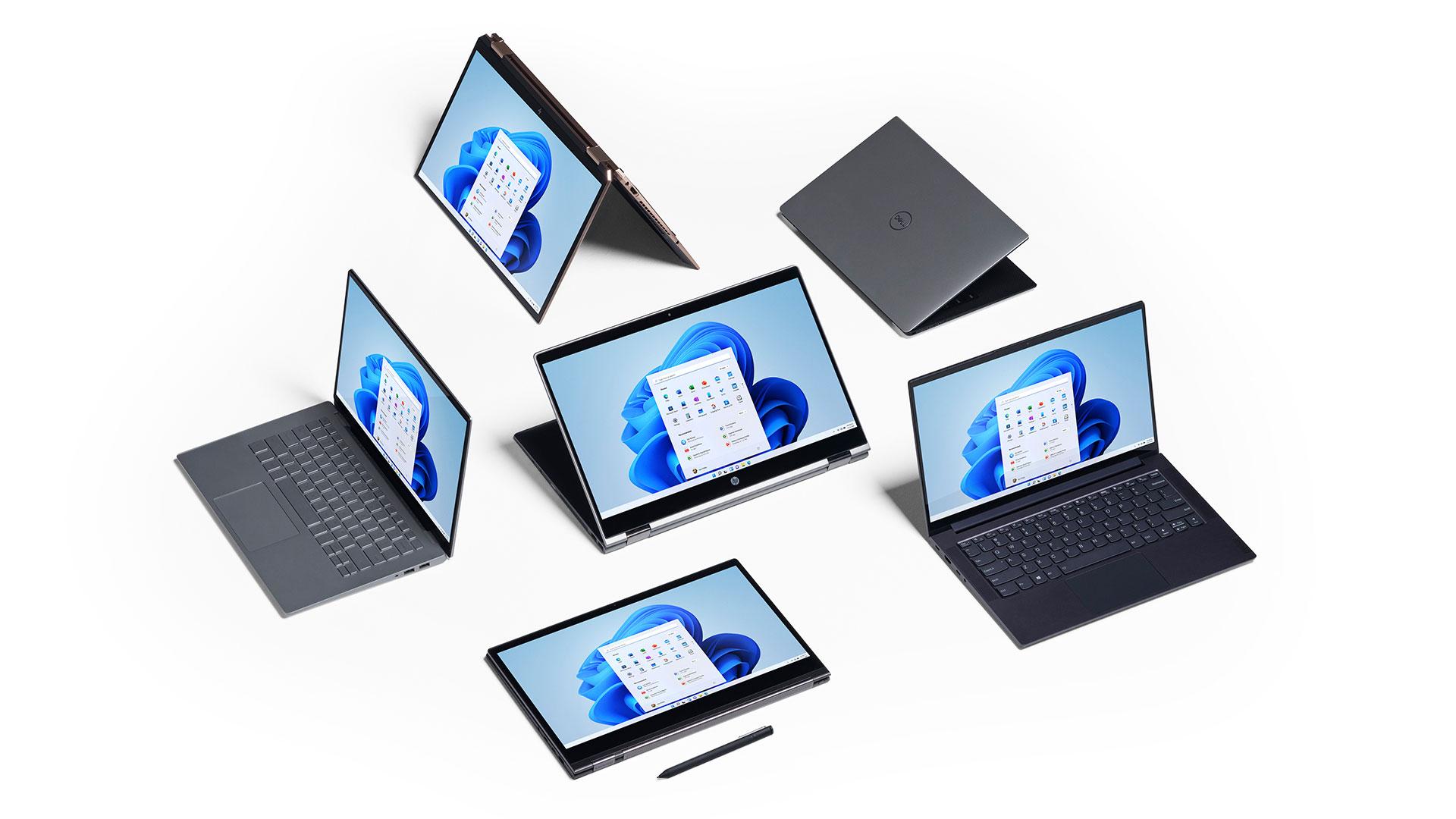 6 komputerów z systemem Windows 11 ułożonych obok siebie