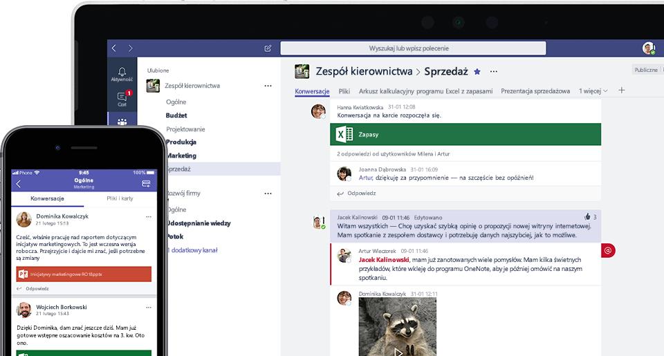 Zdjęcie ekranu usługi Teams na telefonie komórkowym i laptopie
