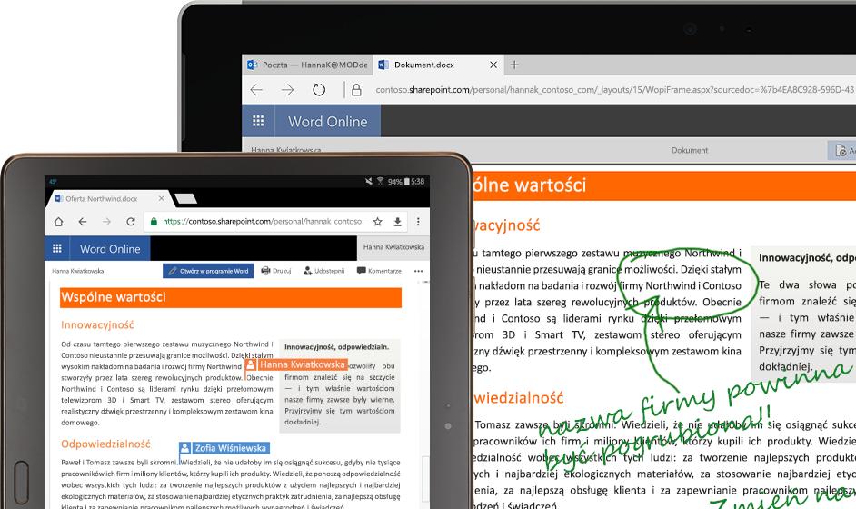 laptop i tablet z uruchomioną aplikacją Word Online