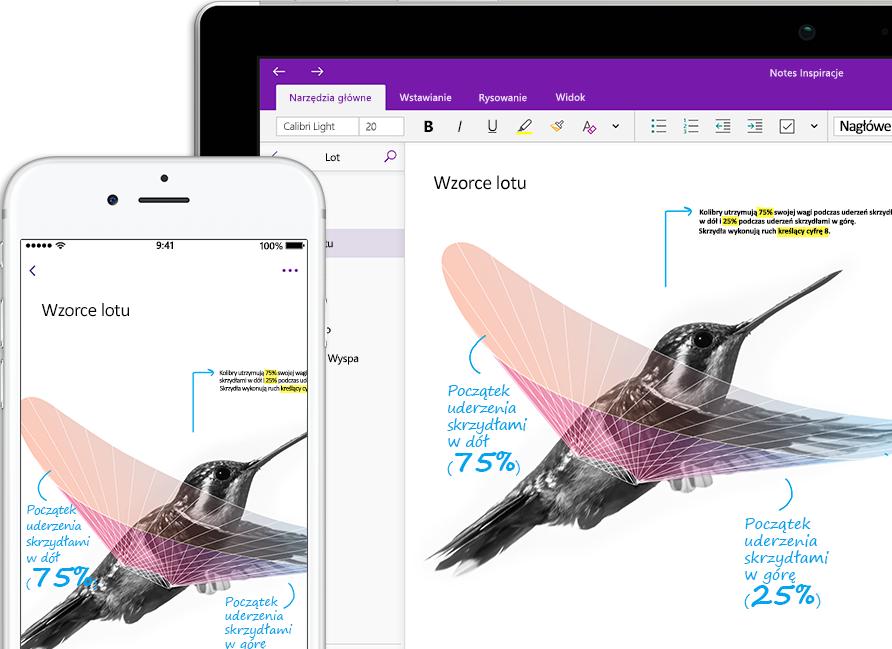 Notes programu OneNote o nazwie Inspiracja, przedstawiający kolibra na smartfonie i tablecie