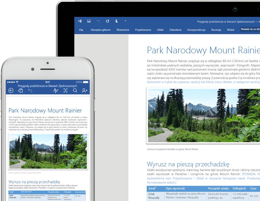 Ekran telefonu komórkowego i laptopa z pokazanym dokumentem programu Word dotyczącym Parku Narodowego Mount Rainier