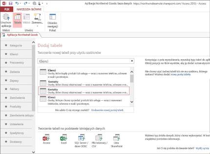 Zrzut ekranu aplikacji bazy danych w programie Access 2013 przedstawiający, jak łatwo dodawać tabele.