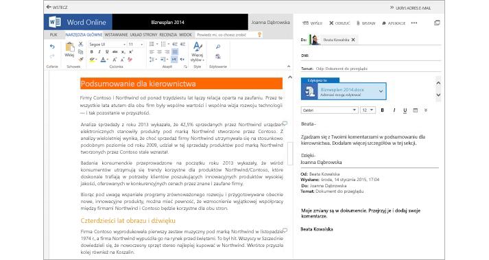 Wiadomość e-mail wyświetlona obok okienka podglądu dokumentu załącznika przy użyciu aplikacji Word Online