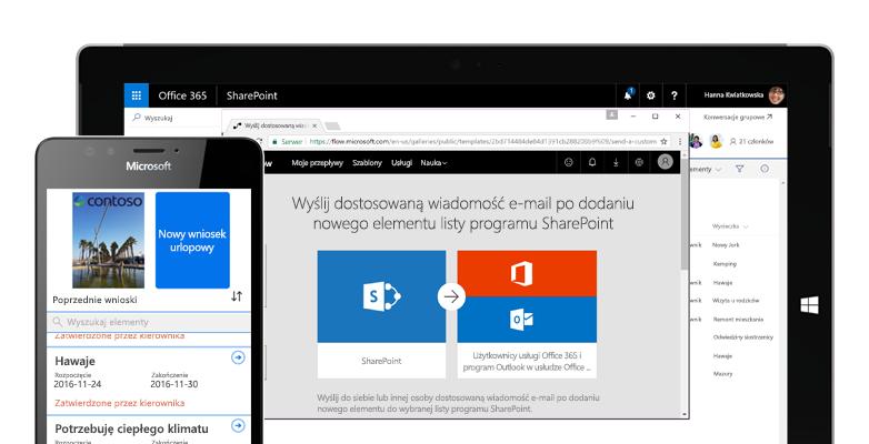 Wniosek urlopowy na smartfonie składany za pomocą usługi Microsoft Flow oraz usługa Microsoft Flow uruchomiona na tablecie