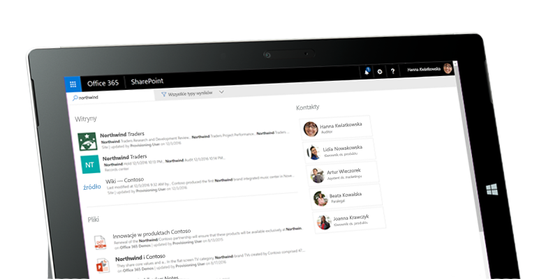 Usługa Yammer i program SharePoint na tablecie