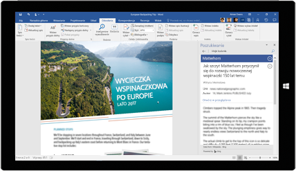 Ekran tabletu przedstawiający korzystanie z funkcji Poszukiwanie w programie Word w dokumencie o wędrówkach z plecakiem po Europie — uzyskaj informacje o tworzeniu dokumentów za pomocą wbudowanych narzędzi pakietu Office