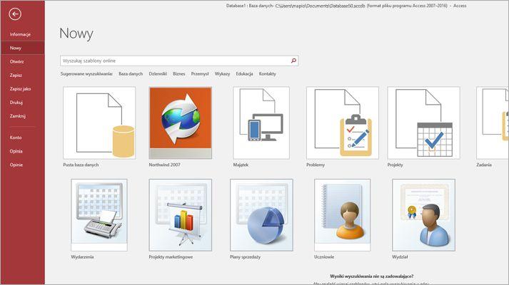 Ekran nowej bazy danych w programie Microsoft Access