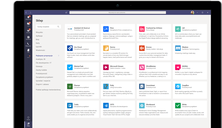 Sklep Microsoft App Store wyświetlany w aplikacji Teams