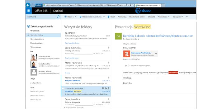 Okno aplikacji Microsoft Outlook przedstawiające przeszukiwanie wszystkich folderów poczty