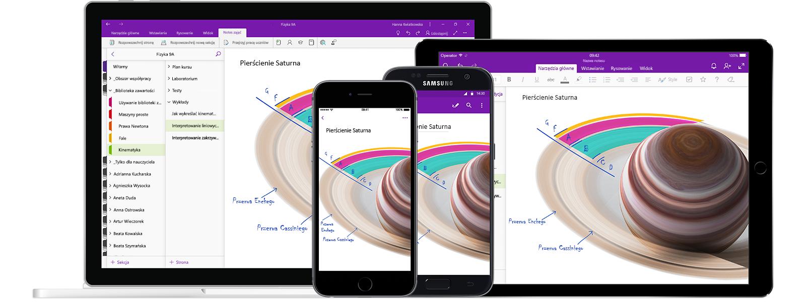 Notes programu OneNote o nazwie Fizyka 9A na dwóch smartfonach i dwóch tabletach, przedstawiający lekcję na temat wykresów liniowych