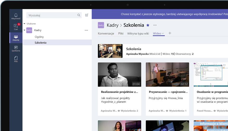 Urządzenie z wyświetloną grupą usługi Teams o nazwie Human Resources oraz menu szkoleniowych klipów wideo