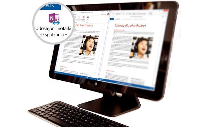 Urządzenie Surface Book z wyświetloną udostępnioną zawartością spotkania.