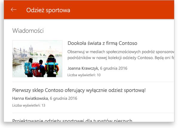 Konwersacja grupowa programu SharePoint na tablecie