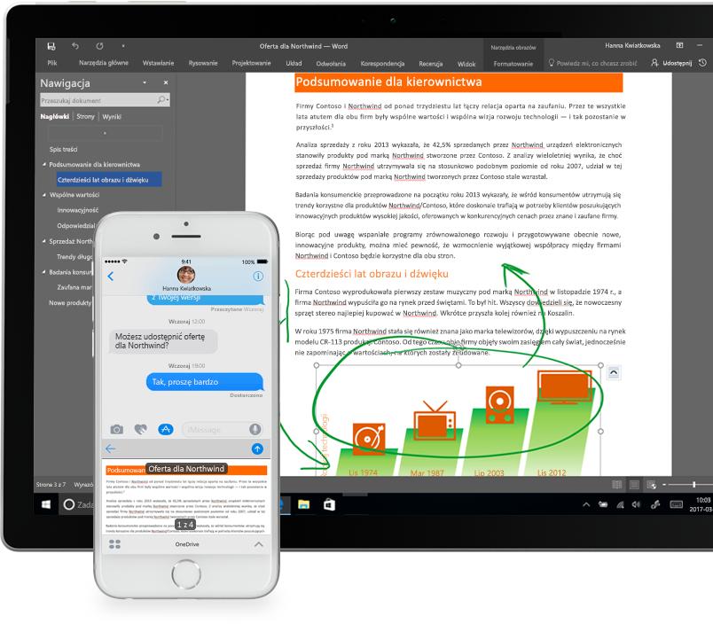 Pliki wyświetlane w usłudze OneDrive na smartfonie i komputerze typu Tablet