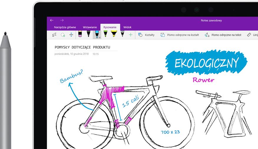 """Pióro cyfrowe ze szkicem roweru """"Eco bike"""" na tablecie."""