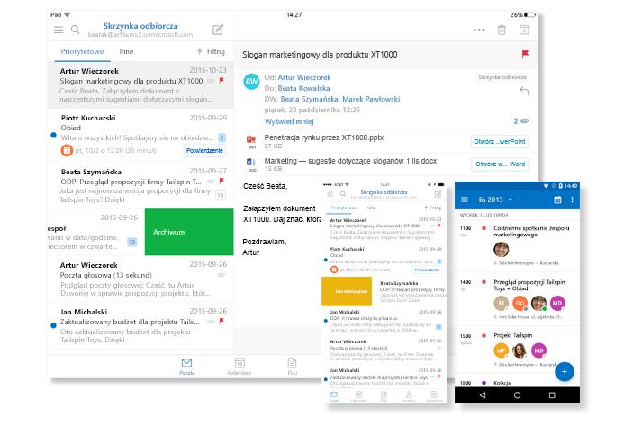 Tablet i ekrany dwóch telefonów z wyświetloną skrzynką odbiorczą poczty e-mail i kalendarzem programu Outlook