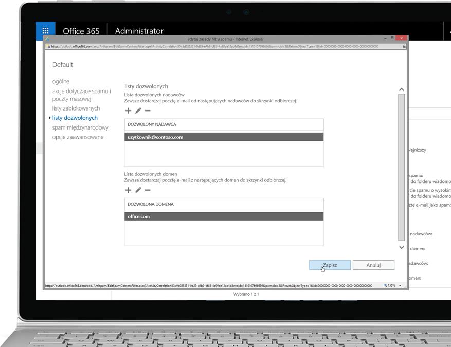 Zasady filtrów usługi Office 365 Exchange Online Protection na laptopie z systemem Windows