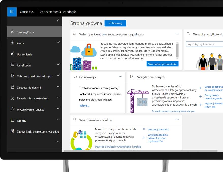 Centrum zabezpieczeń i zgodności usługi Office 365 na monitorze komputera stacjonarnego z systemem Windows