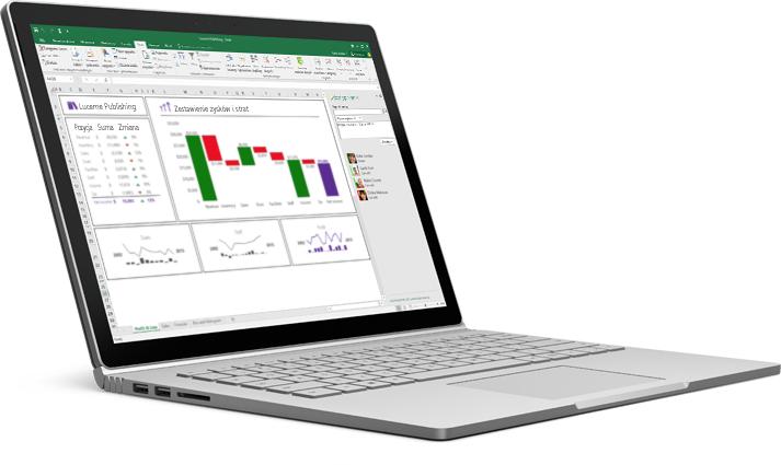 Ekran laptopa przedstawiający przebudowany arkusz kalkulacyjny programu Excel z automatycznie uzupełnionymi danymi.