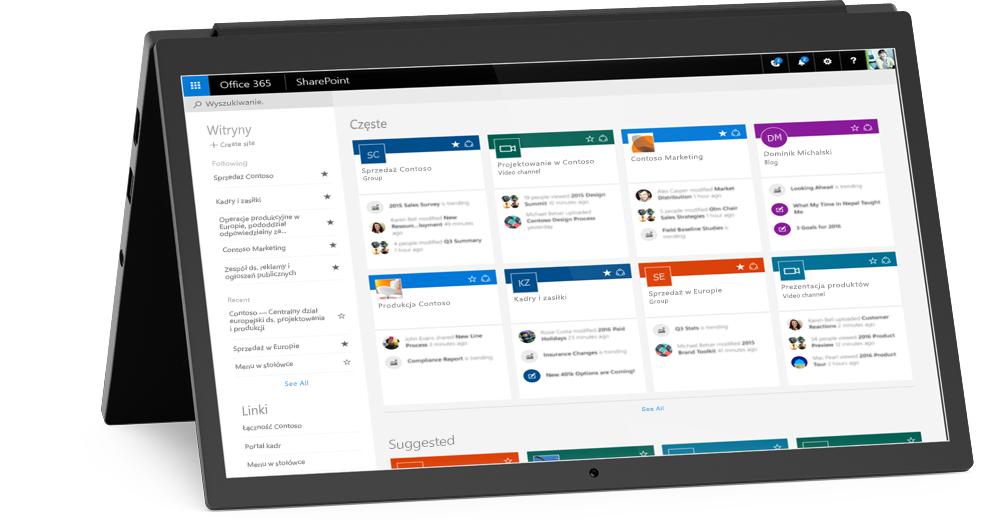 Laptop z wyświetlonym ekranem Moje witryny w programie SharePoint