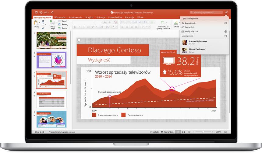 Monitor komputera MacBook z widoczną prezentacją w nowym programie PowerPoint dla komputerów Mac z rozwiniętym menu opcji udostępniania.