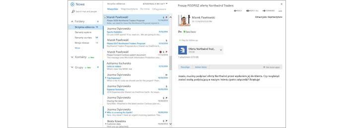 Skrzynka odbiorcza poczty e-mail z nową wiadomością wyświetlaną w okienku podglądu