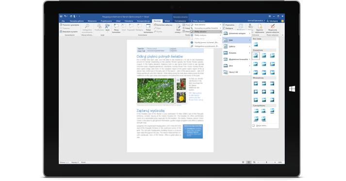 Tablet Surface z wyświetloną nową funkcją Powiedz mi w dokumencie programu Word.