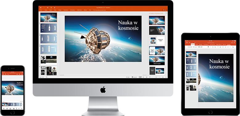 Telefon iPhone, monitor komputera Mac oraz tablet iPad z wyświetloną prezentacją na temat technologii kosmicznych — poznaj funkcje wspomagające mobilność w pakiecie Office