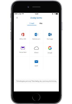 Smartfon z wyświetlonym ekranem Dodaj konto w aplikacji mobilnej Outlook